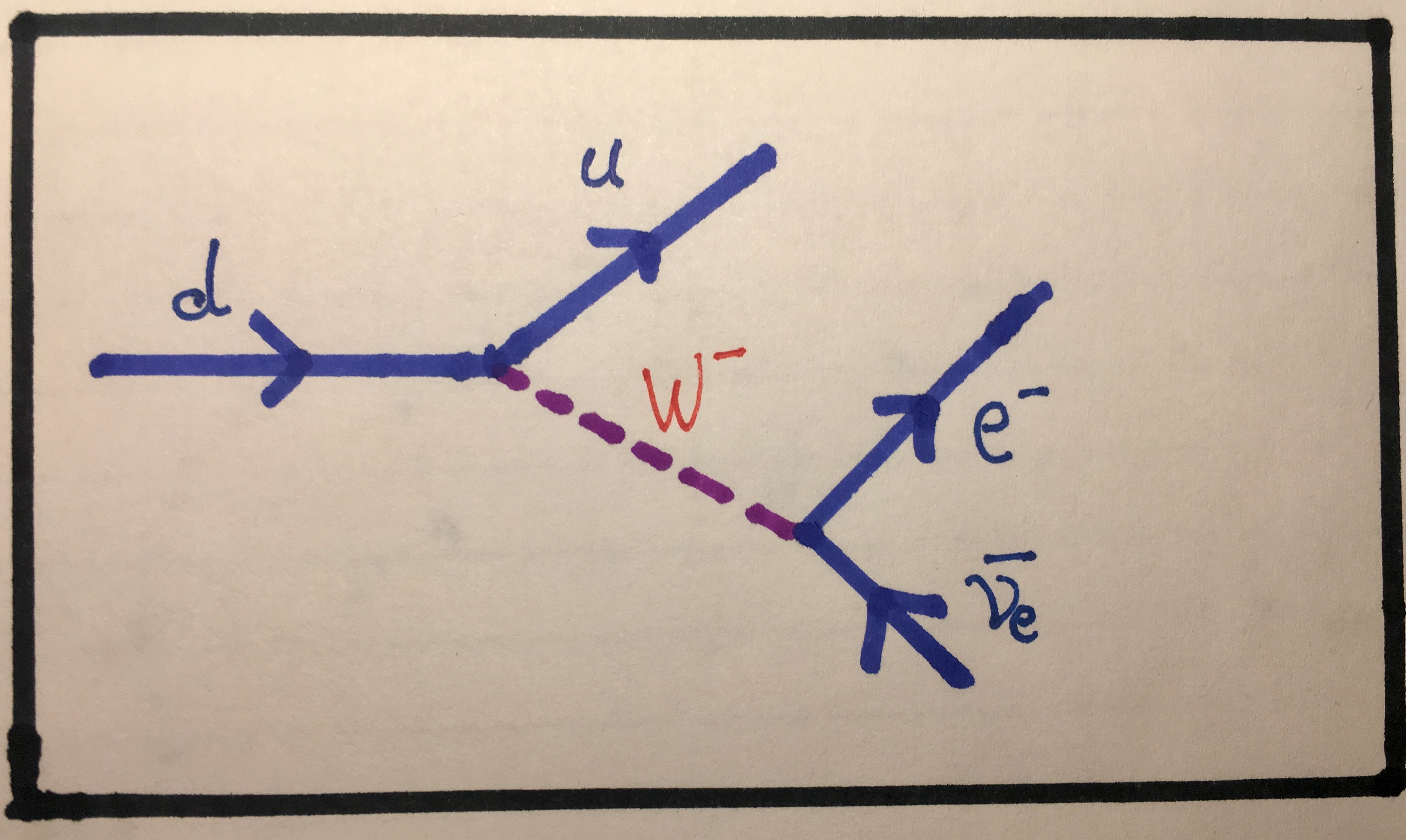 Prelude to pp part 3 visualising interactions with feynman diagrams feynman diagram showing the process of beta decay notice that a w boson is involved here this implies that this interaction occurs through the weak pooptronica
